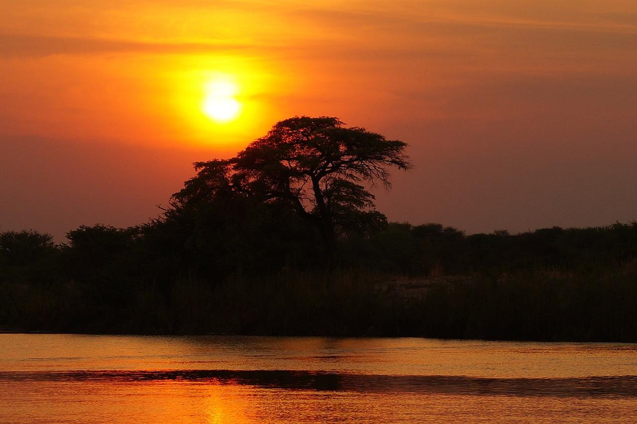 Afrika, Safari, Fluss, Sonne