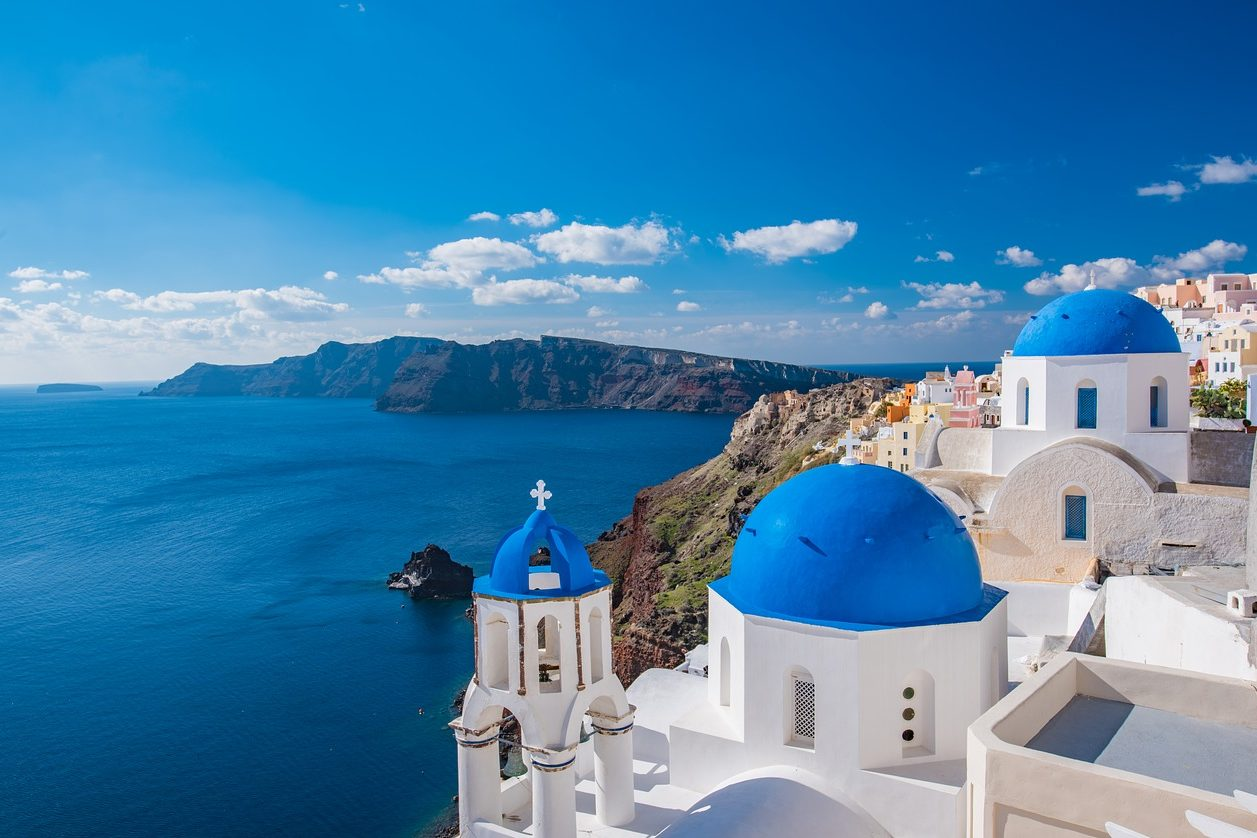 Griechenland, Dorf, Weiße Häuser, Ausblick, Meerblick