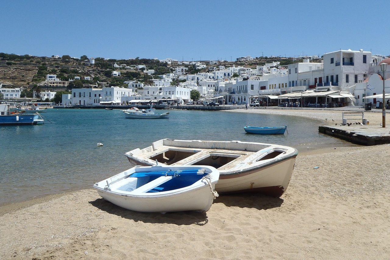 Griechenland, Dorf, Boot, Strand, Hafen, Taverne