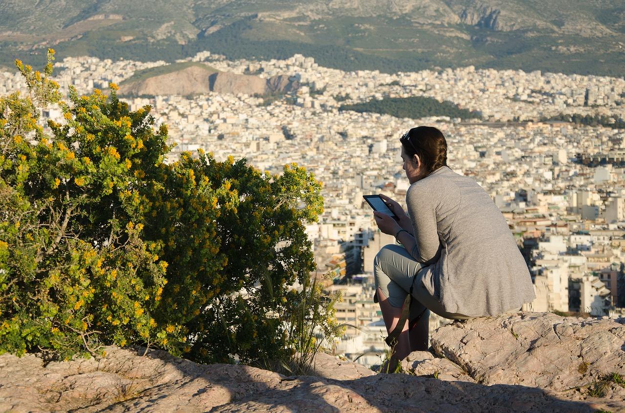 Griechenland, Reisende, Tablet