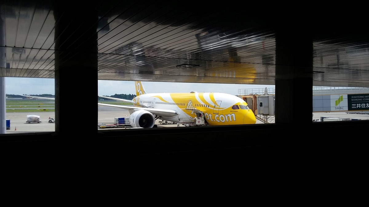 scoot Airline Flugzeug nach der Landung in Tokio