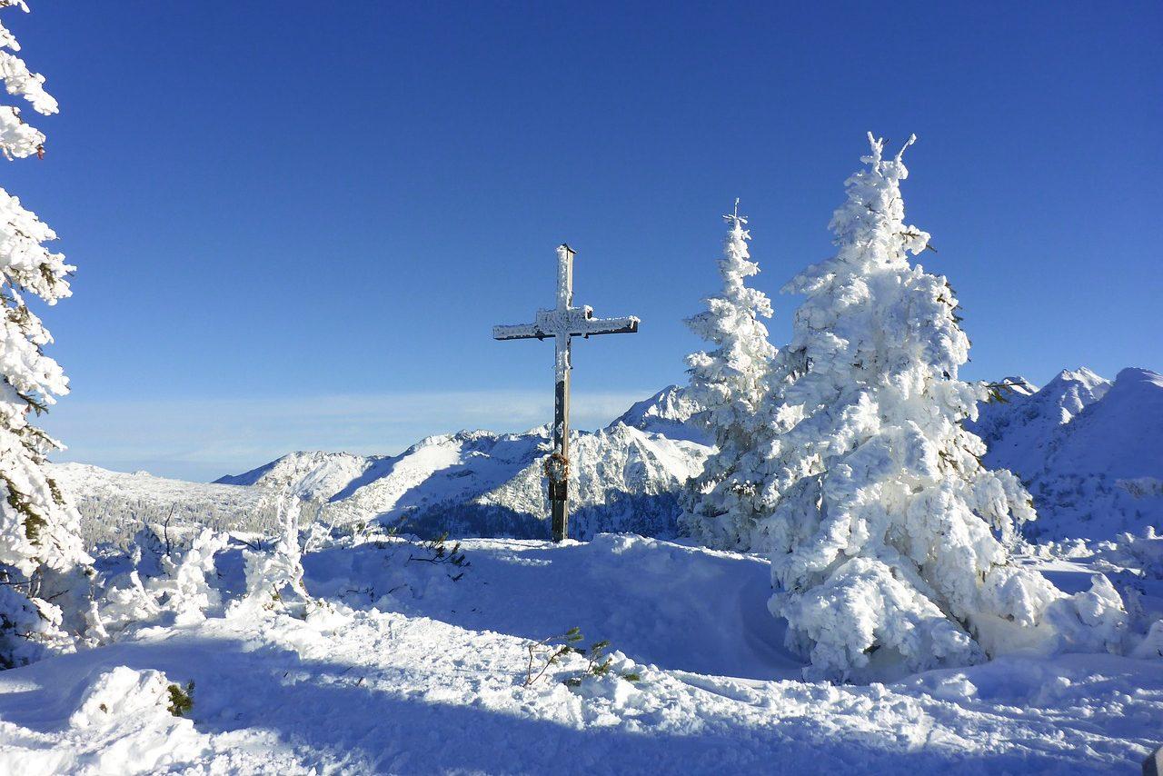 Österreich, Winter, Berge, Gipfelkreuz, Schnee