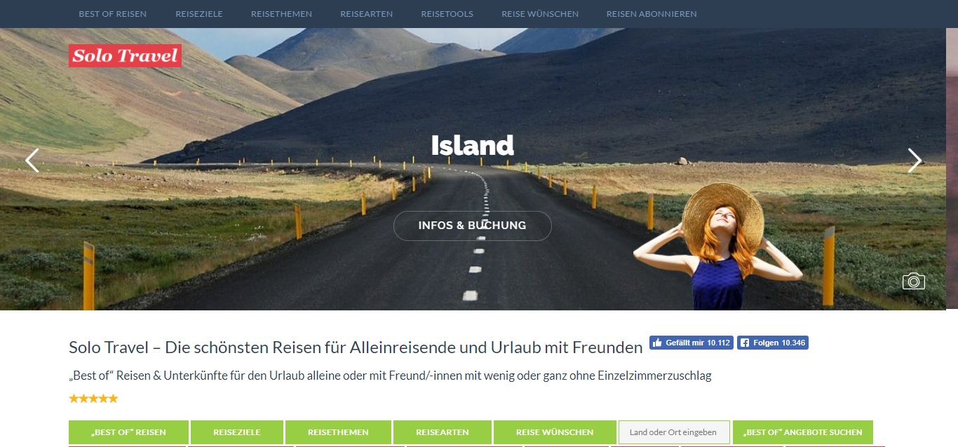 Screenshot Solo Travel Startseite 2017-08-11