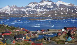 Grönland, Greenland, Artkis, Arctic, Eis, Eismeer, Meer, Eisberge, Eisschollen, Schnee, Winter, Dorf, Berge, Gletscher