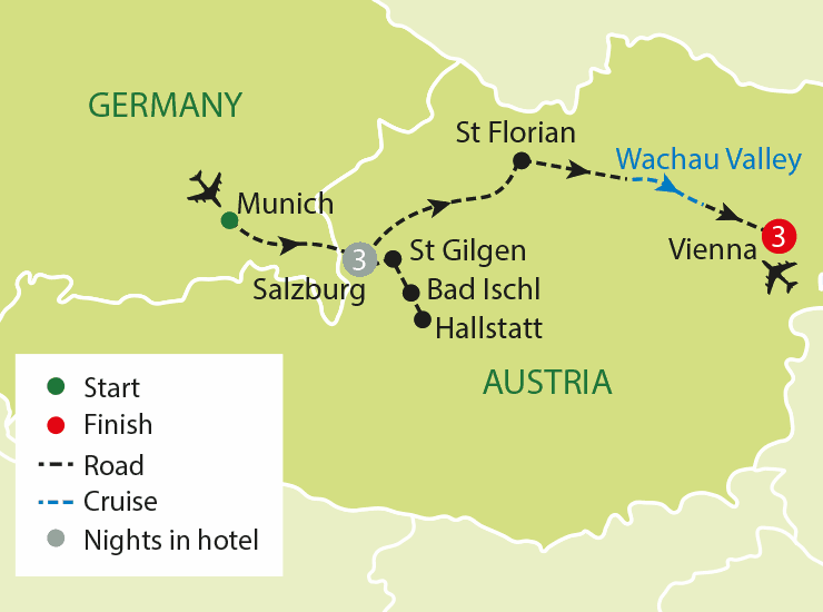 Salzburg & Vienna - The Sounds of Austria - Just You Singles Holidays (Map Image Credit: Just You)