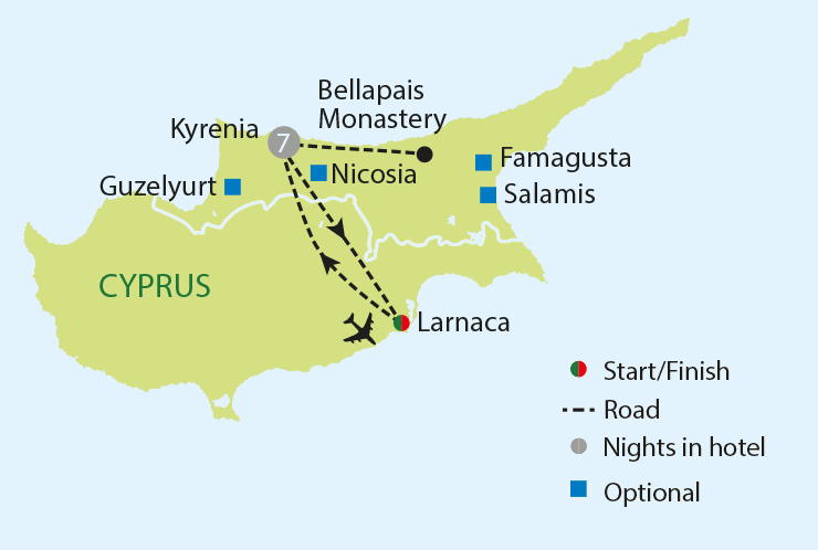 Northern Cyprus Hidden History -  Cyprus Singles Holidays (Map Image Credit: Just You)